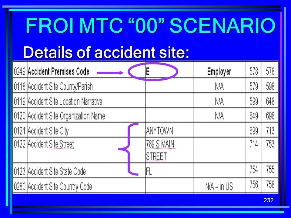232 Details of accident site: FROI MTC 00 SCENARIO