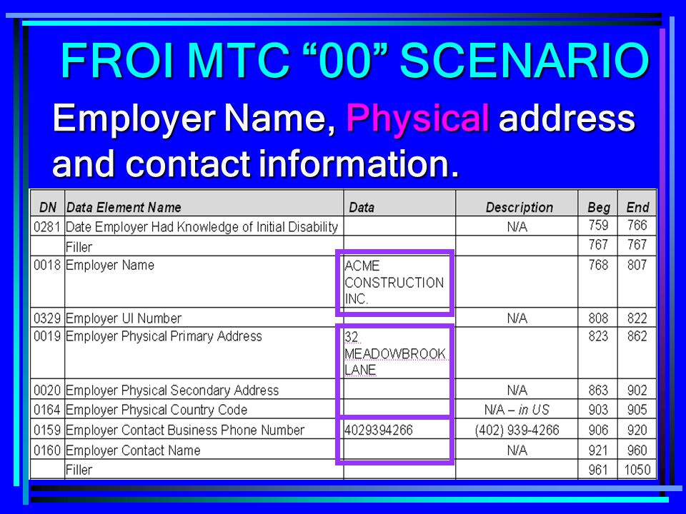 233 Employer Name, Physical address and contact information. FROI MTC 00 SCENARIO