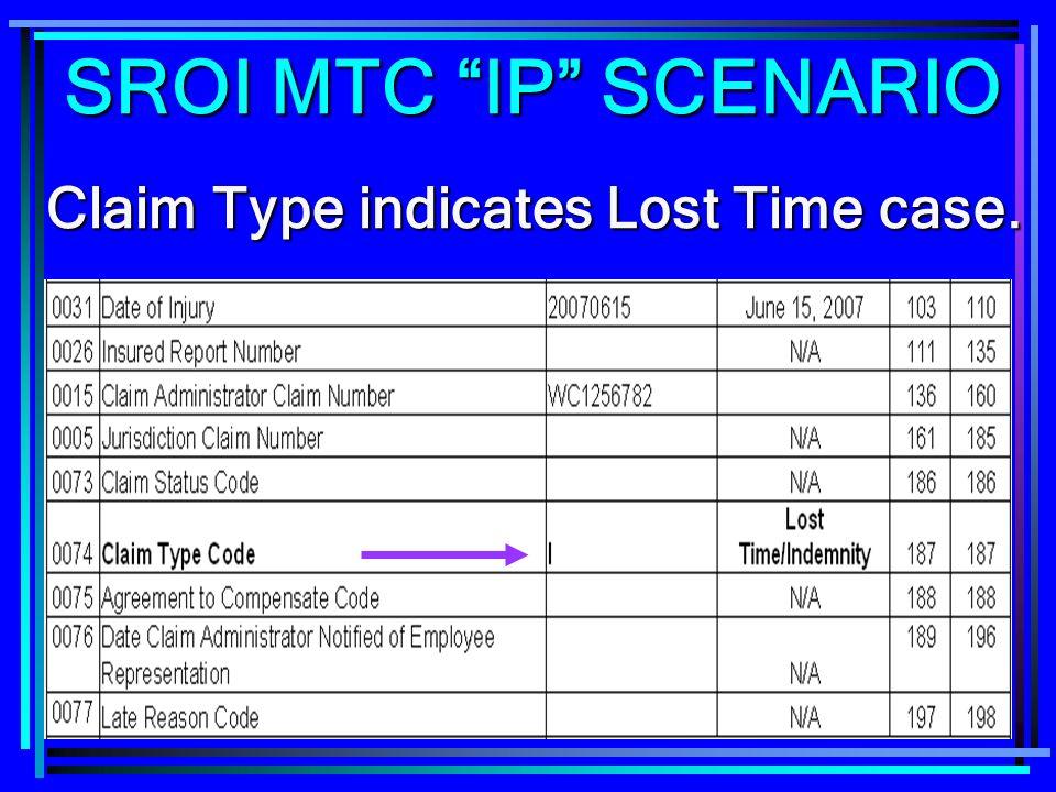 249 Claim Type indicates Lost Time case. SROI MTC IP SCENARIO