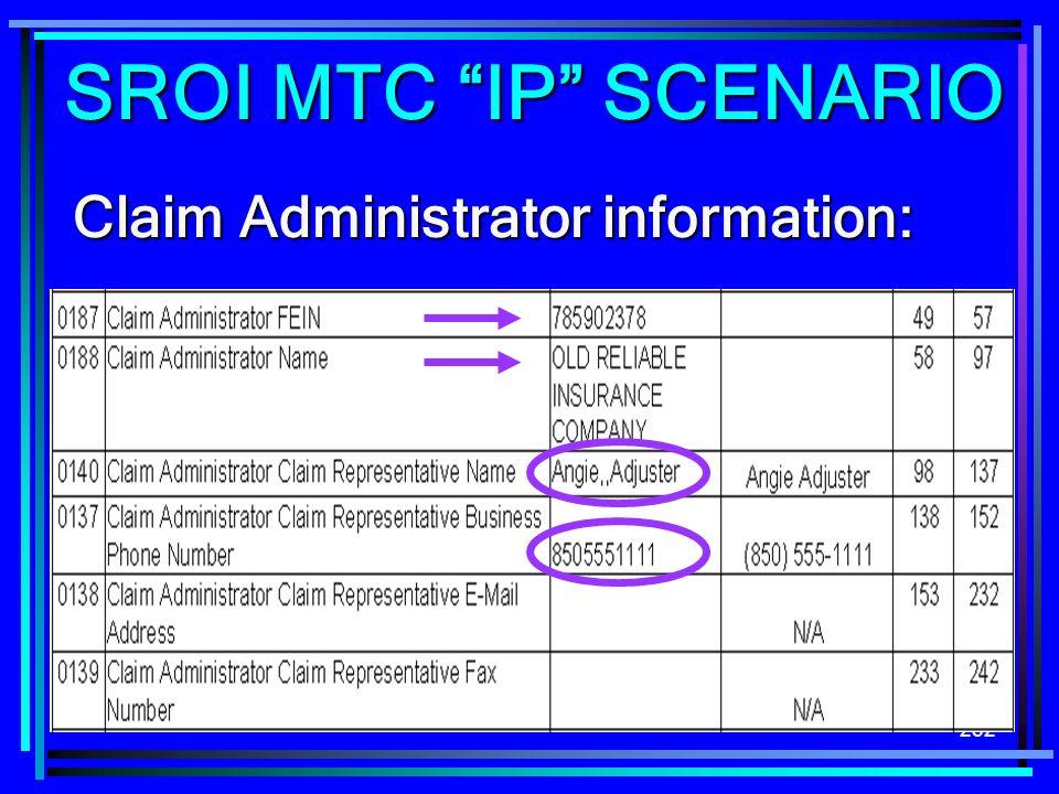 252 Claim Administrator information: SROI MTC IP SCENARIO