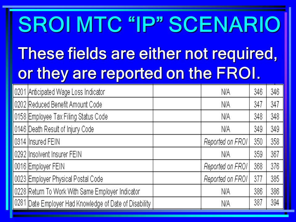 254 These fields are either not required, or they are reported on the FROI. SROI MTC IP SCENARIO