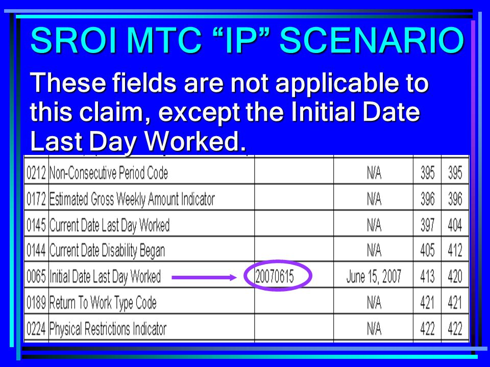 255 These fields are not applicable to this claim, except the Initial Date Last Day Worked. SROI MTC IP SCENARIO