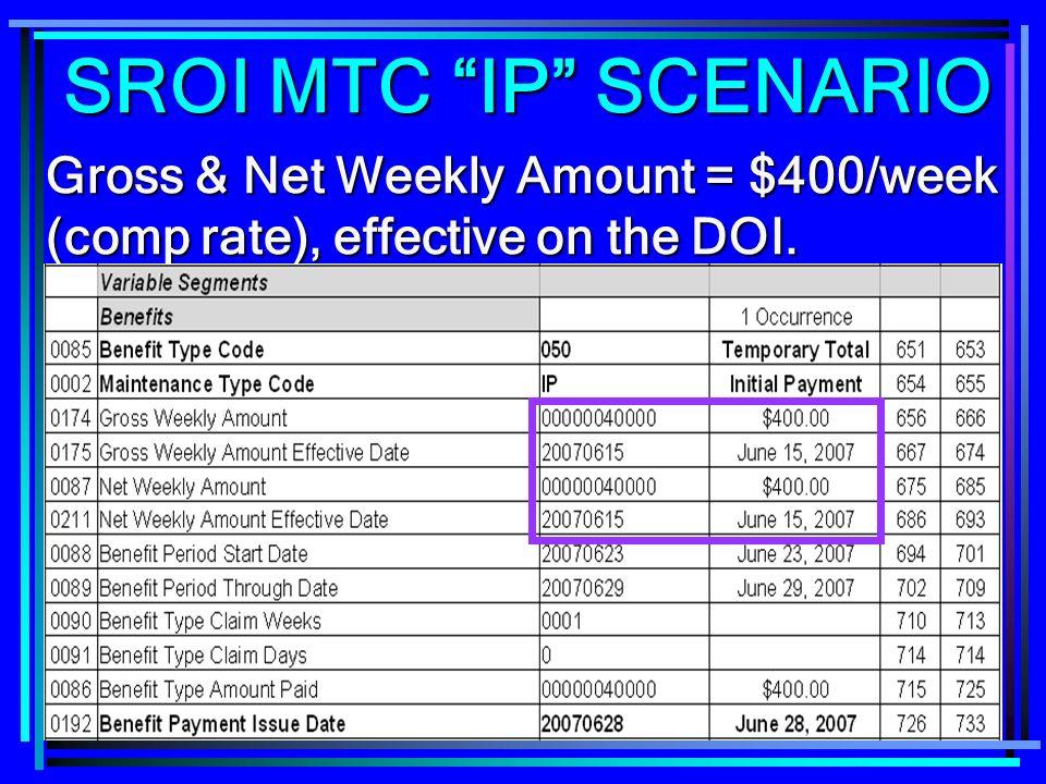 262 Gross & Net Weekly Amount = $400/week (comp rate), effective on the DOI. SROI MTC IP SCENARIO