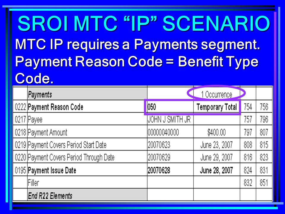 266 MTC IP requires a Payments segment. Payment Reason Code = Benefit Type Code. SROI MTC IP SCENARIO