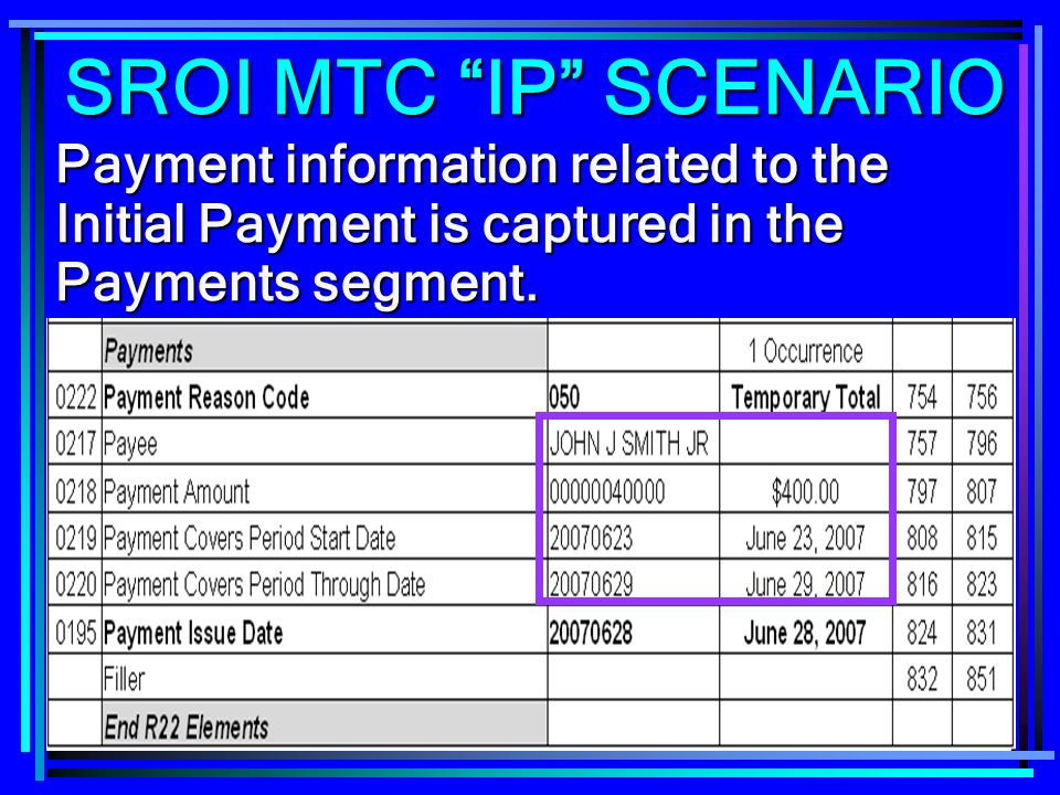 267 Payment information related to the Initial Payment is captured in the Payments segment. SROI MTC IP SCENARIO