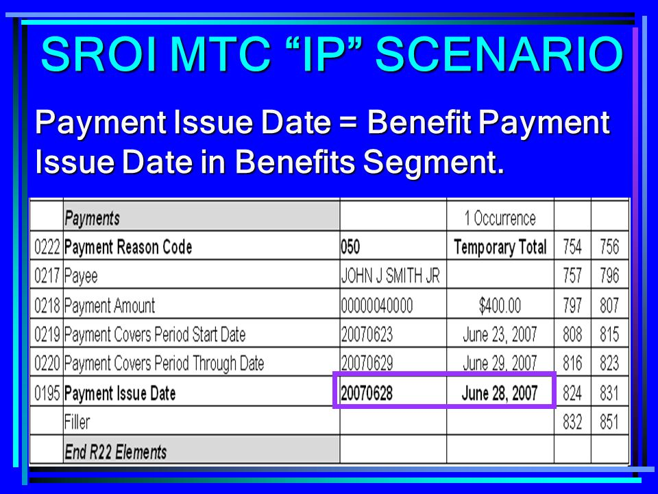268 Payment Issue Date = Benefit Payment Issue Date in Benefits Segment. SROI MTC IP SCENARIO