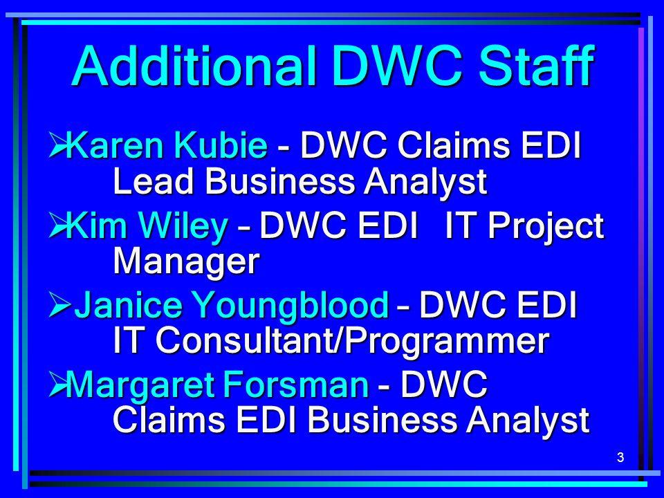 3 Karen Kubie - DWC Claims EDI Lead Business Analyst Karen Kubie - DWC Claims EDI Lead Business Analyst Kim Wiley – DWC EDI IT Project Manager Kim Wil