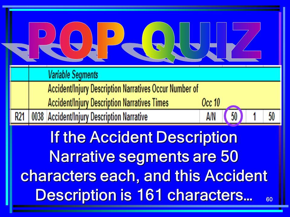 60 If the Accident Description Narrative segments are 50 characters each, and this Accident Description is 161 characters…