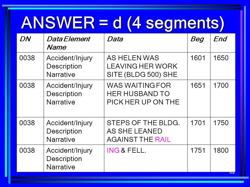 62 ANSWER = d (4 segments) DNData Element Name DataBegEnd 0038Accident/Injury Description Narrative AS HELEN WAS LEAVING HER WORK SITE (BLDG 500) SHE