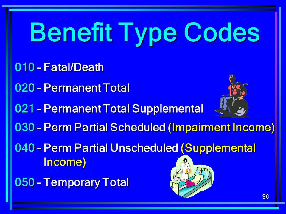 96 010 – Fatal/Death 020 – Permanent Total 021 – Permanent Total Supplemental Benefit Type Codes 030 – Perm Partial Scheduled (Impairment Income) 040