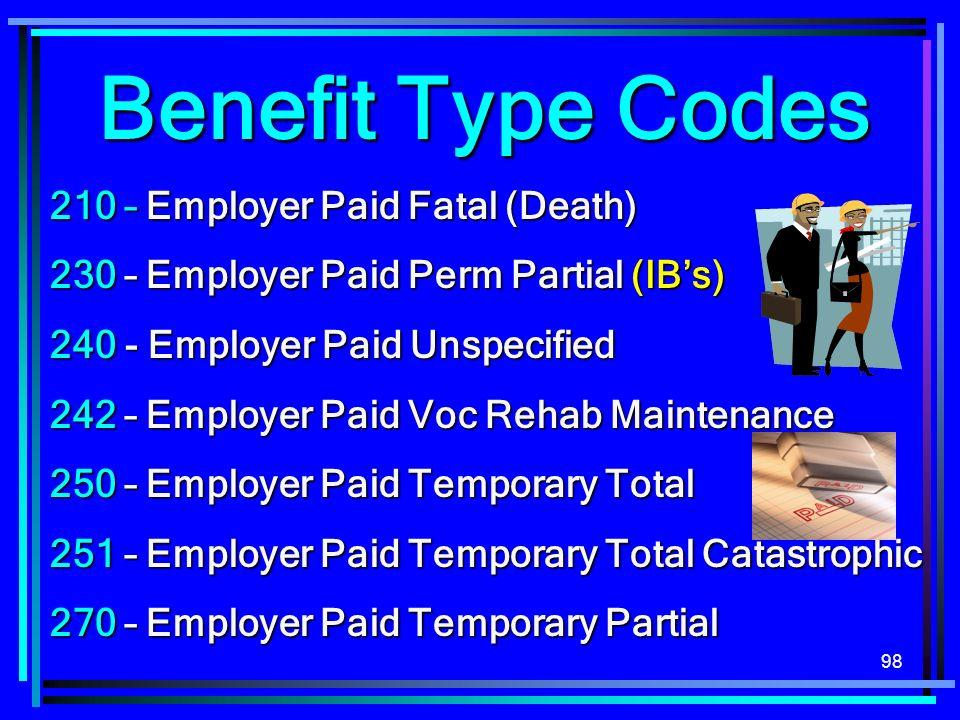 98 210 – Employer Paid Fatal (Death) 230 – Employer Paid Perm Partial (IBs) 240 - Employer Paid Unspecified 242 – Employer Paid Voc Rehab Maintenance