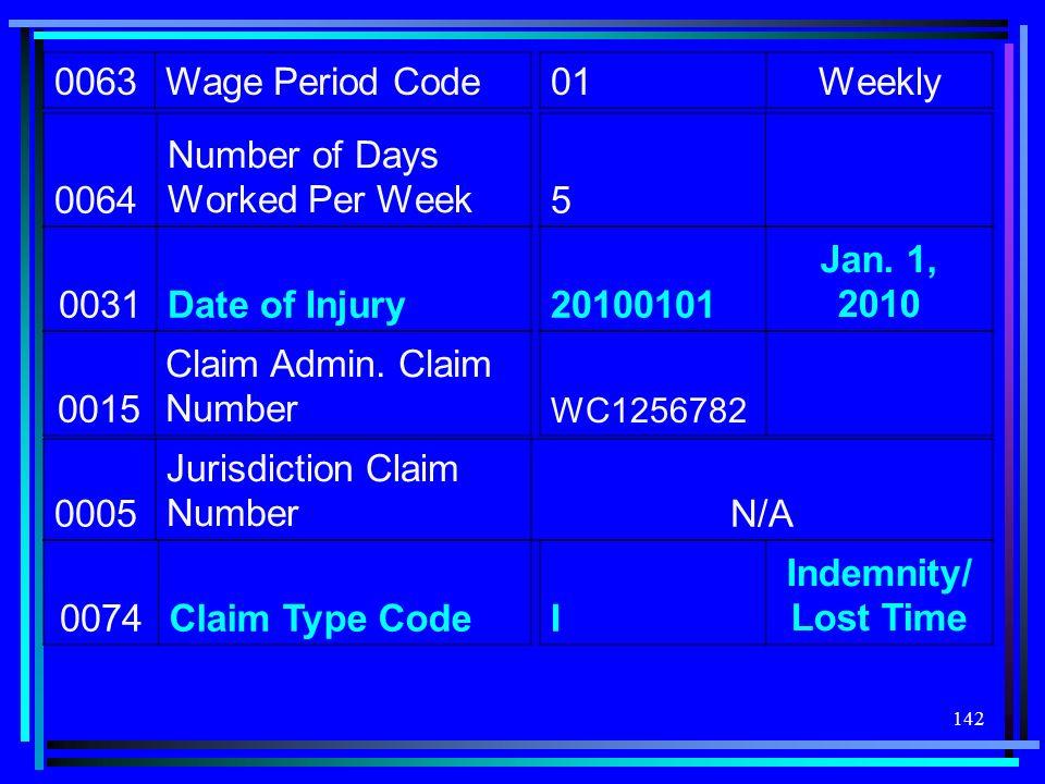142 0063Wage Period Code 01Weekly 0064 Number of Days Worked Per Week5 0031Date of Injury20100101 Jan. 1, 2010 0015 Claim Admin. Claim Number WC125678