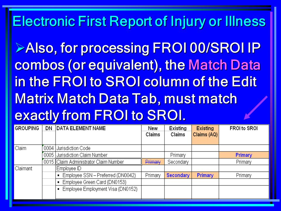 22 Also, for processing FROI 00/SROI IP combos (or equivalent), the Match Data in the FROI to SROI column of the Edit Matrix Match Data Tab, must matc