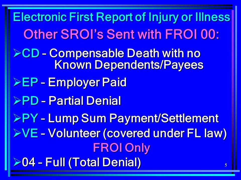 36 SROI BENEFITS Segment Only one Benefits segment per Benefit Type Code (BTC) is allowed.