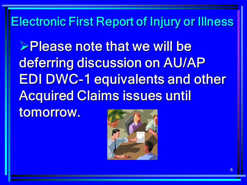 17 If LT is delayed or non- consecutive, 00/IP is timely filed with DWC when it is received by DWC and assigned TA on or before 13 days after the Claim Admin.s knowledge of the 8 th day of disability (a/k/a Initial Date of Lost Time.) If LT is delayed or non- consecutive, 00/IP is timely filed with DWC when it is received by DWC and assigned TA on or before 13 days after the Claim Admin.s knowledge of the 8 th day of disability (a/k/a Initial Date of Lost Time.) Electronic First Report of Injury or Illness Answer (contd):