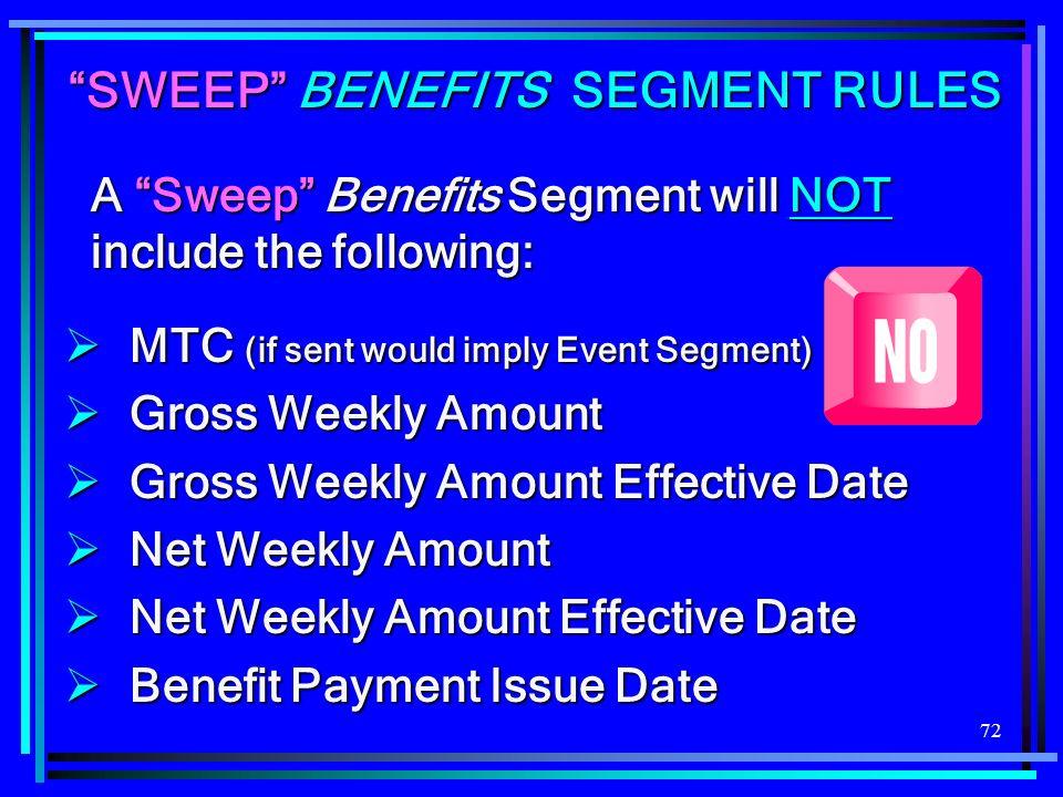 72 SWEEP BENEFITS SEGMENT RULES MTC (if sent would imply Event Segment) MTC (if sent would imply Event Segment) Gross Weekly Amount Gross Weekly Amoun