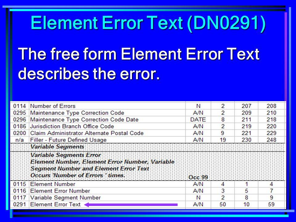 117 Element Error Text (DN0291) The free form Element Error Text describes the error.