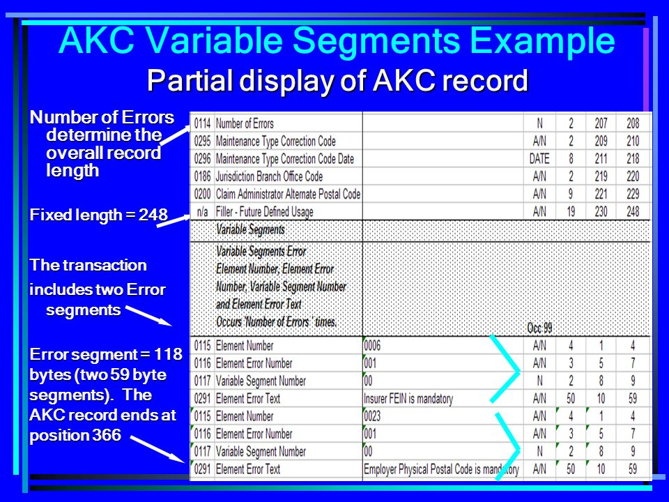 133 Partial display of AKC record AKC Variable Segments Example Partial display of AKC record Number of Errors determine the overall record length The transaction includes two Error segments Error segment = 118 bytes (two 59 byte segments).