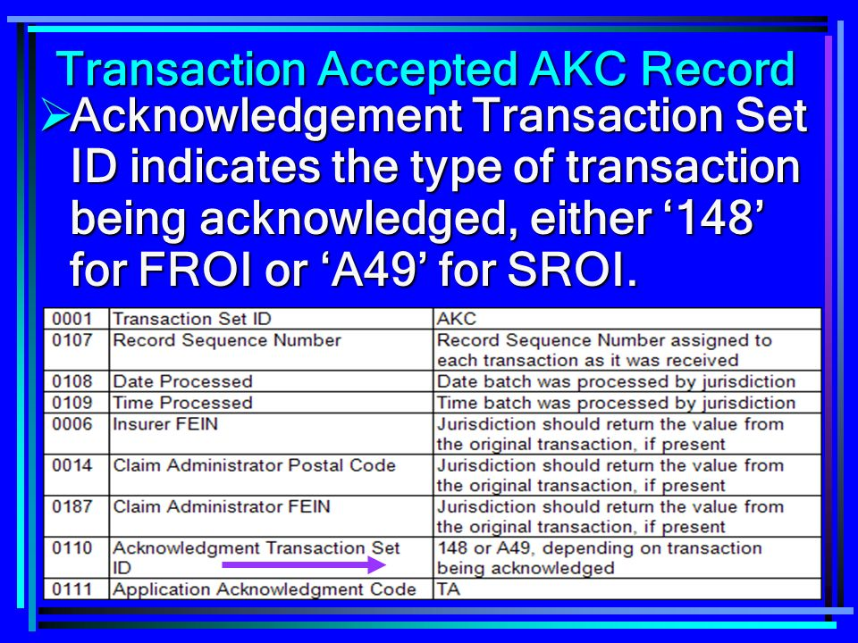157 Transaction Accepted AKC Record Acknowledgement Transaction Set ID indicates the type of transaction being acknowledged, either 148 for FROI or A49 for SROI.