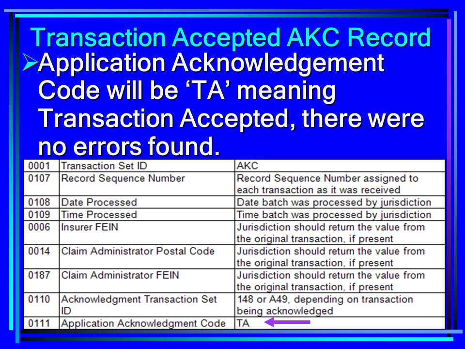 158 Transaction Accepted AKC Record Application Acknowledgement Code will be TA meaning Transaction Accepted, there were no errors found. Application