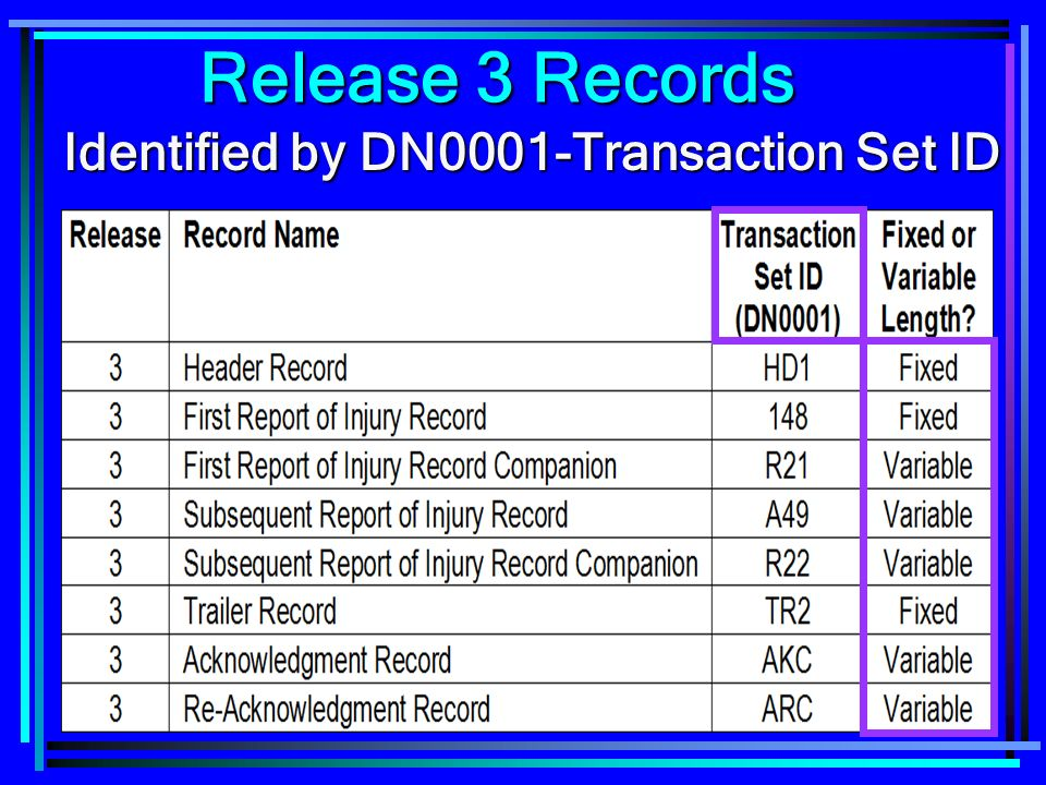 24 Release 3 Records Identified by DN0001-Transaction Set ID