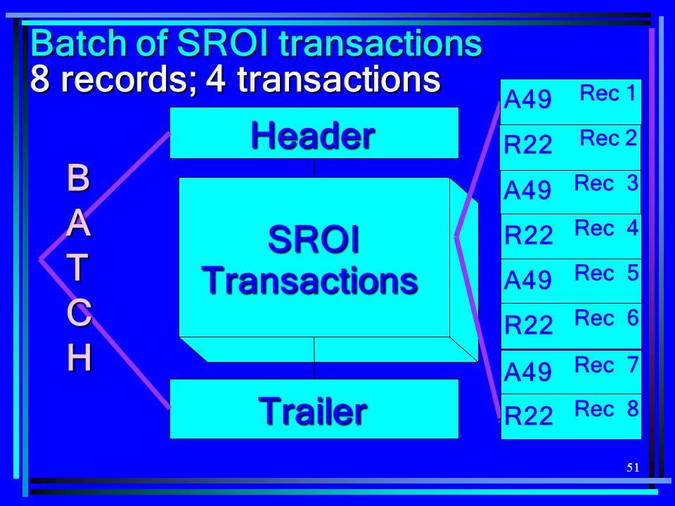 51 Trailer Header SROI Transactions BATCH A49 Rec 1 A49 Rec 3 FROI R22 Rec 2 FROI R22 Rec 4 FROI A49 Rec 5 FROI R22 Rec 6 Batch of SROI transactions 8 records; 4 transactions FROI A49 Rec 7 FROI R22 Rec 8