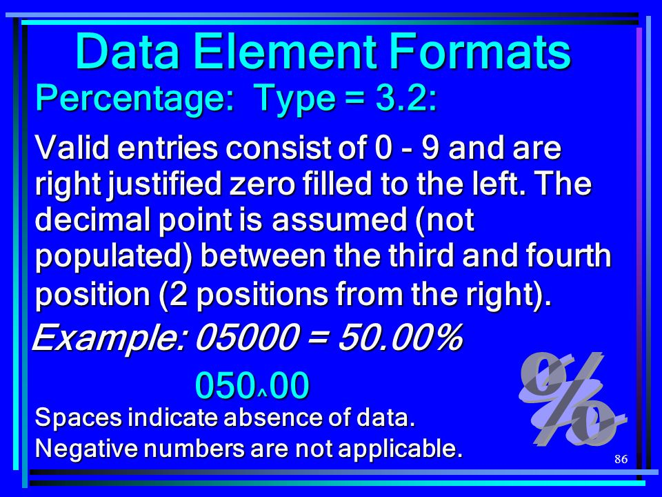 86 Data Element Formats Percentage: Type = 3.2: Valid entries consist of 0 - 9 and are right justified zero filled to the left. The decimal point is a