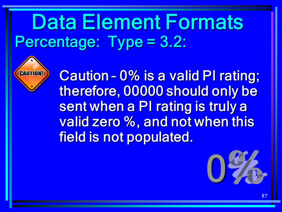 87 Data Element Formats Percentage: Type = 3.2: Caution – 0% is a valid PI rating; therefore, should only be sent when a PI rating is truly a valid zero %, and not when this field is not populated.