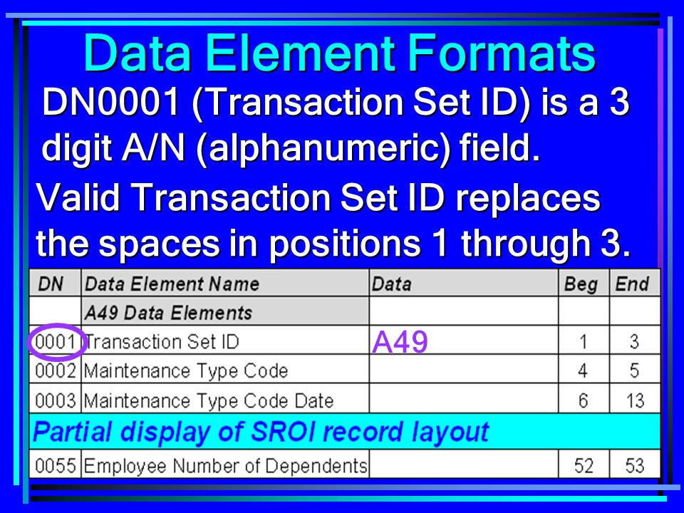 93 Data Element Formats DN0001 (Transaction Set ID) is a 3 digit A/N (alphanumeric) field.