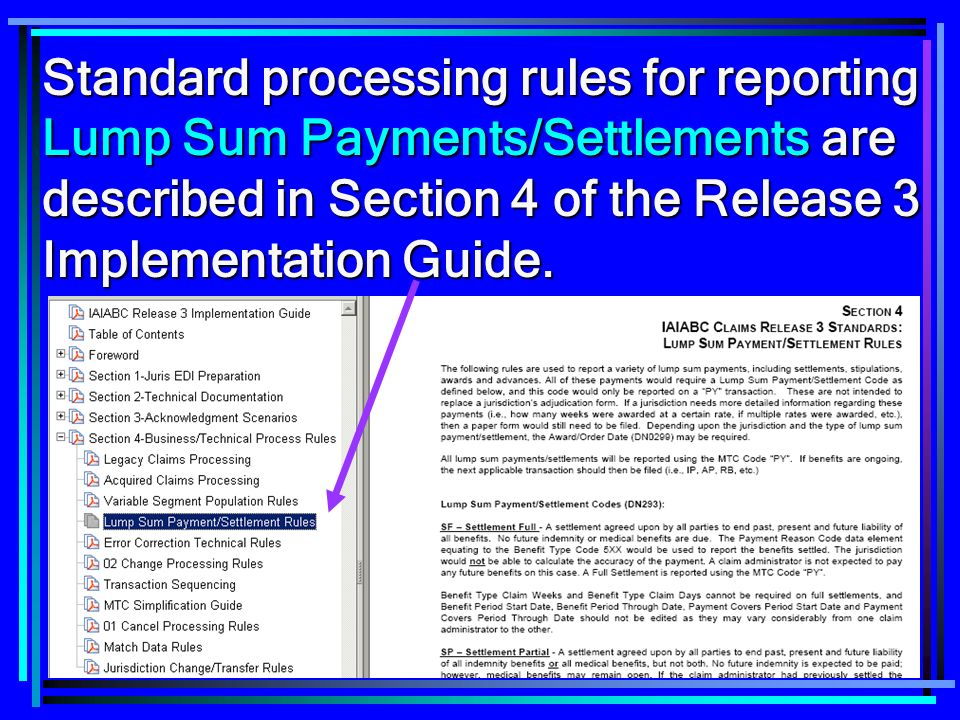 102 Standard processing rules for reporting Lump Sum Payments/Settlements are described in Section 4 of the Release 3 Implementation Guide.