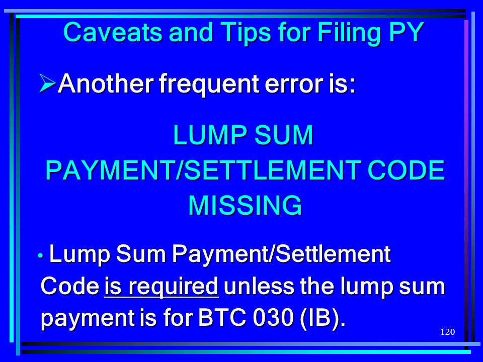 120 Caveats and Tips for Filing PY Another frequent error is: Another frequent error is: LUMP SUM PAYMENT/SETTLEMENT CODE MISSING Lump Sum Payment/Settlement Code is required unless the lump sum payment is for BTC 030 (IB).