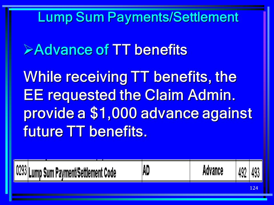 124 While receiving TT benefits, the EE requested the Claim Admin.