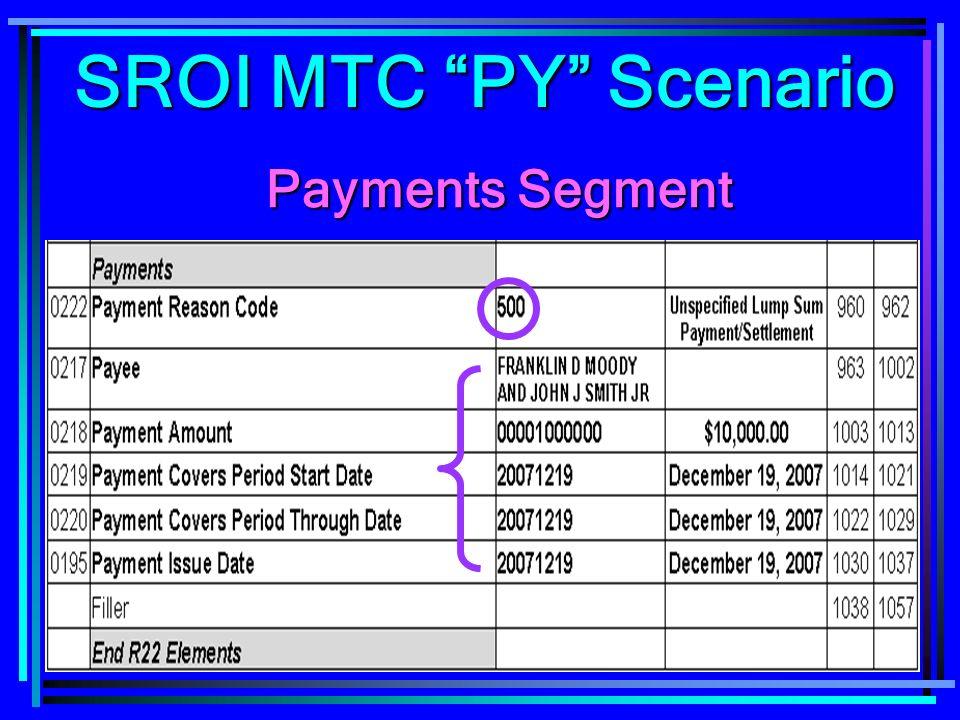 142 Payments Segment SROI MTC PY Scenario