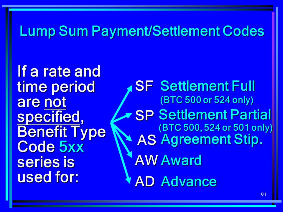 91 If a rate and time period are not specified, Benefit Type Code 5xx series is used for: ADAdvance AWAward SF Settlement Full (BTC 500 or 524 only) Settlement Partial SP AS Agreement Stip.