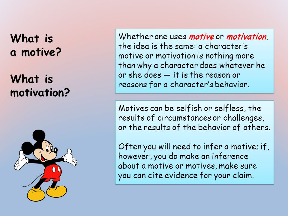 What is a motive? What is motivation? Whether one uses motive or motivation, the idea is the same: a characters motive or motivation is nothing more t