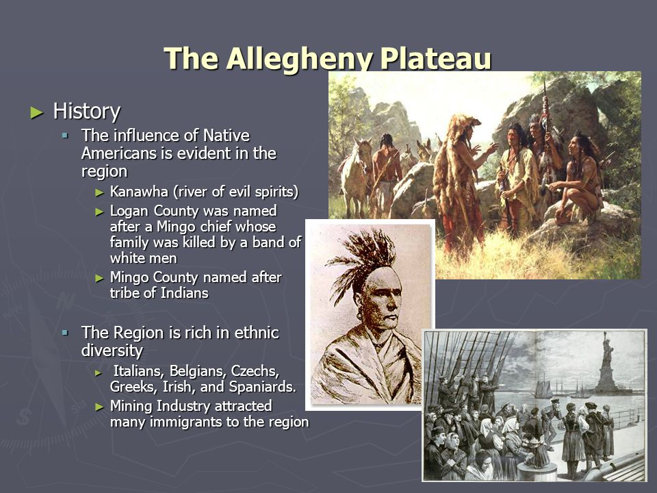 The Allegheny Plateau History History The influence of Native Americans is evident in the region The influence of Native Americans is evident in the r