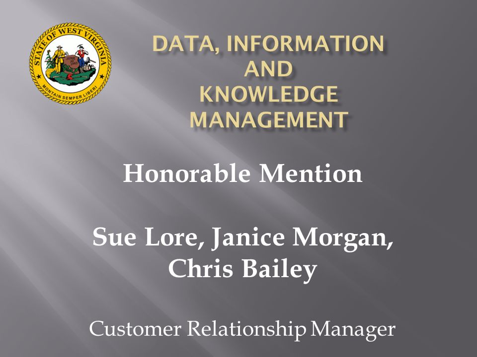 Honorable Mention Sue Lore, Janice Morgan, Chris Bailey Customer Relationship Manager