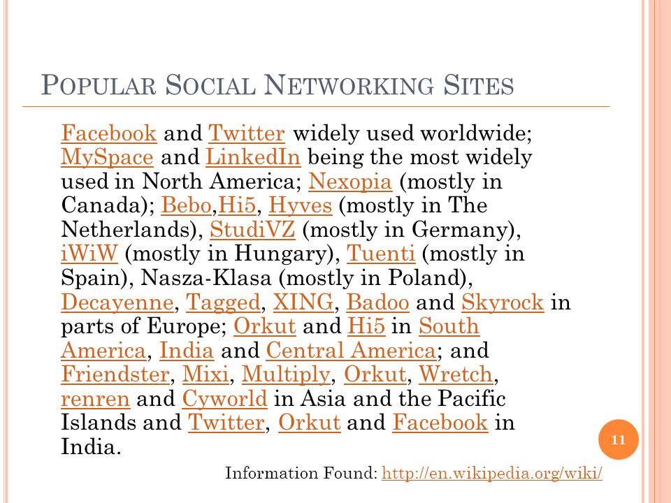 P OPULAR S OCIAL N ETWORKING S ITES FacebookFacebook and Twitter widely used worldwide; MySpace and LinkedIn being the most widely used in North America; Nexopia (mostly in Canada); Bebo,Hi5, Hyves (mostly in The Netherlands), StudiVZ (mostly in Germany), iWiW (mostly in Hungary), Tuenti (mostly in Spain), Nasza-Klasa (mostly in Poland), Decayenne, Tagged, XING, Badoo and Skyrock in parts of Europe; Orkut and Hi5 in South America, India and Central America; and Friendster, Mixi, Multiply, Orkut, Wretch, renren and Cyworld in Asia and the Pacific Islands and Twitter, Orkut and Facebook in India.Twitter MySpaceLinkedInNexopiaBeboHi5HyvesStudiVZ iWiWTuenti DecayenneTaggedXINGBadooSkyrockOrkutHi5South AmericaIndiaCentral America FriendsterMixiMultiplyOrkutWretch renrenCyworldTwitterOrkutFacebook 11 Information Found: http://en.wikipedia.org/wiki/http://en.wikipedia.org/wiki/