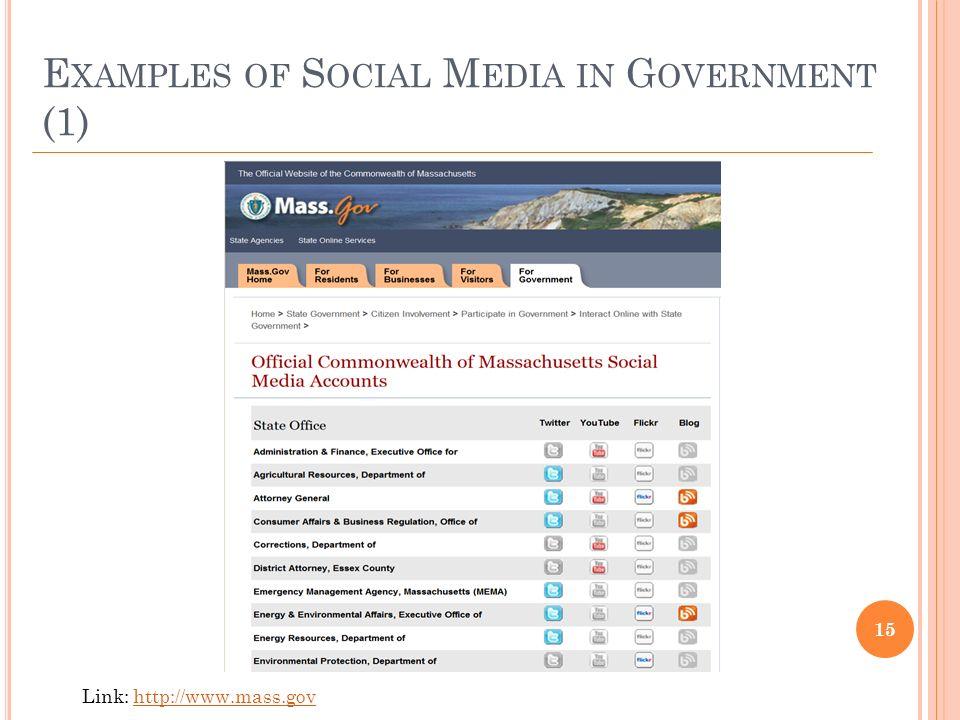 E XAMPLES OF S OCIAL M EDIA IN G OVERNMENT (1) 15 Link: http://www.mass.govhttp://www.mass.gov