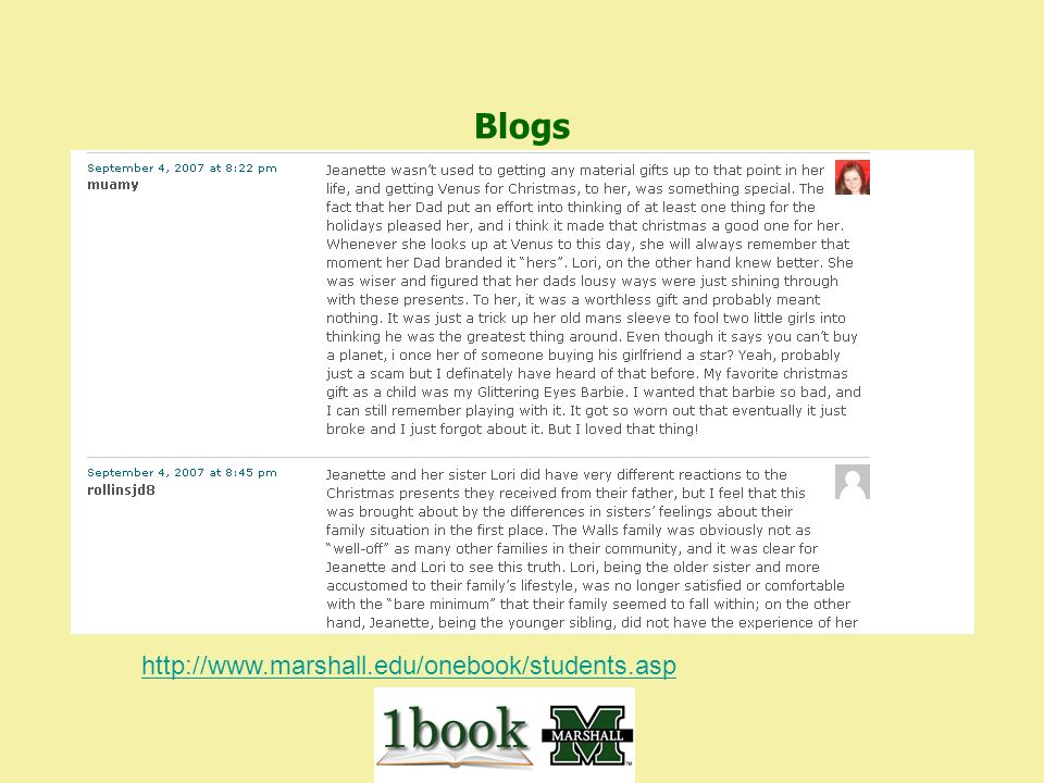 Blogs http://www.marshall.edu/onebook/students.asp