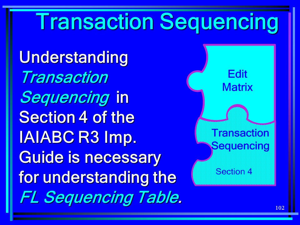 102 Transaction Sequencing Understanding Transaction Sequencing in Section 4 of the IAIABC R3 Imp. Guide is necessary for understanding the FL Sequenc