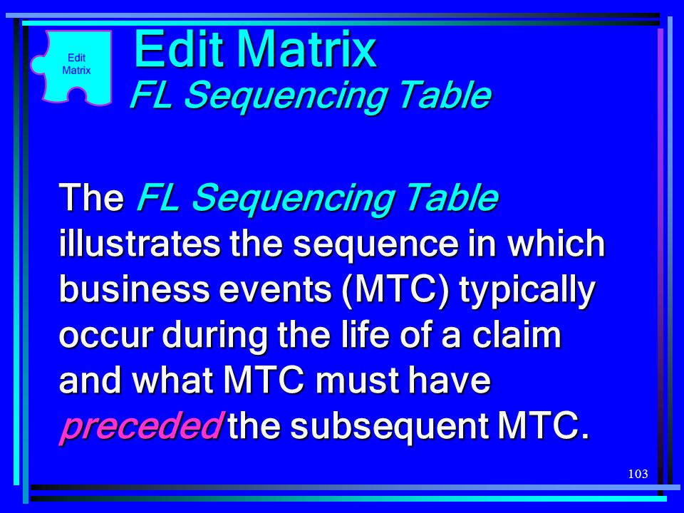 103 Edit Matrix FL Sequencing Table The FL Sequencing Table illustrates the sequence in which business events (MTC) typically occur during the life of