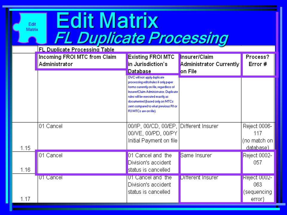 112 Edit Matrix FL Duplicate Processing