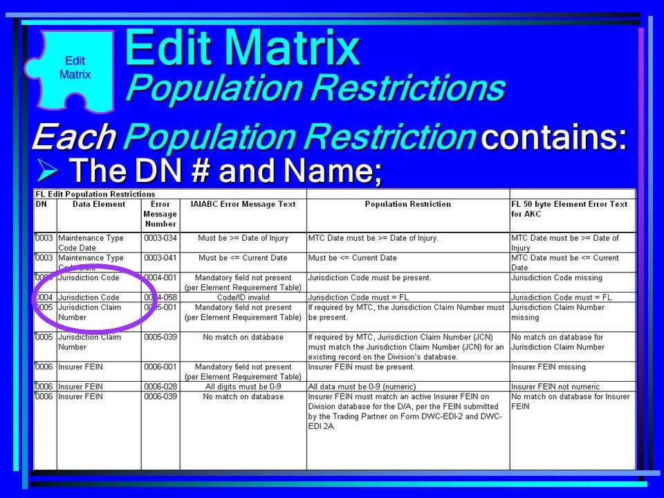 118 Each Population Restriction contains: Edit Matrix The DN # and Name; The DN # and Name; Population Restrictions