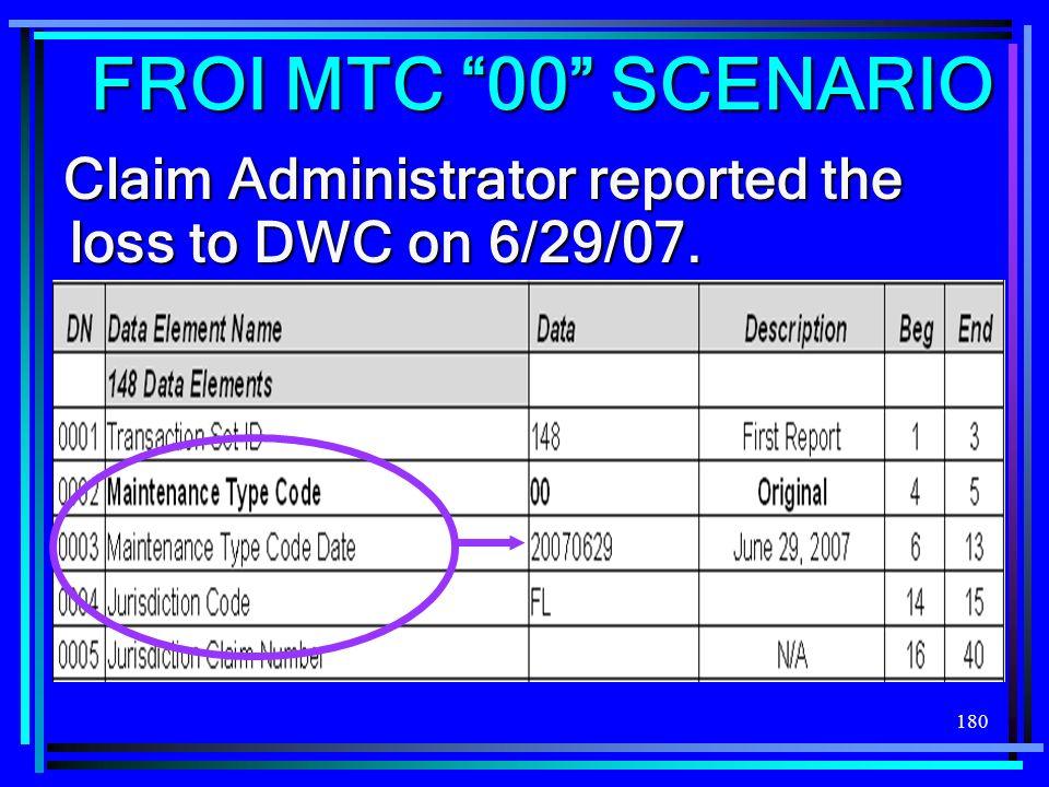 180 FROI MTC 00 SCENARIO Claim Administrator reported the loss to DWC on 6/29/07.