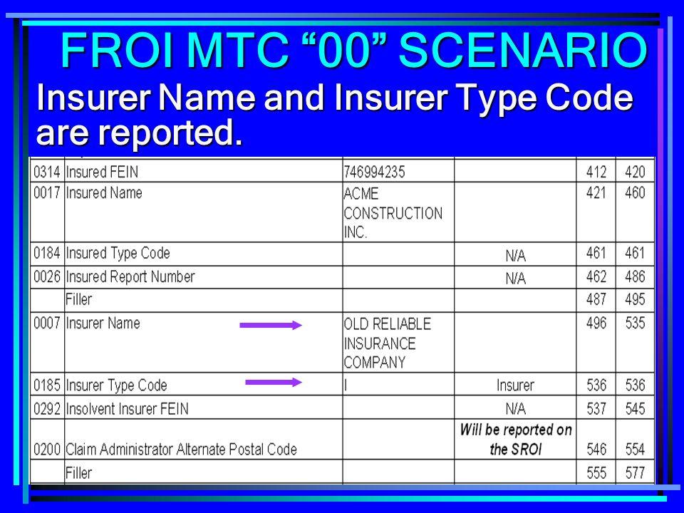 196 Insurer Name and Insurer Type Code are reported. FROI MTC 00 SCENARIO