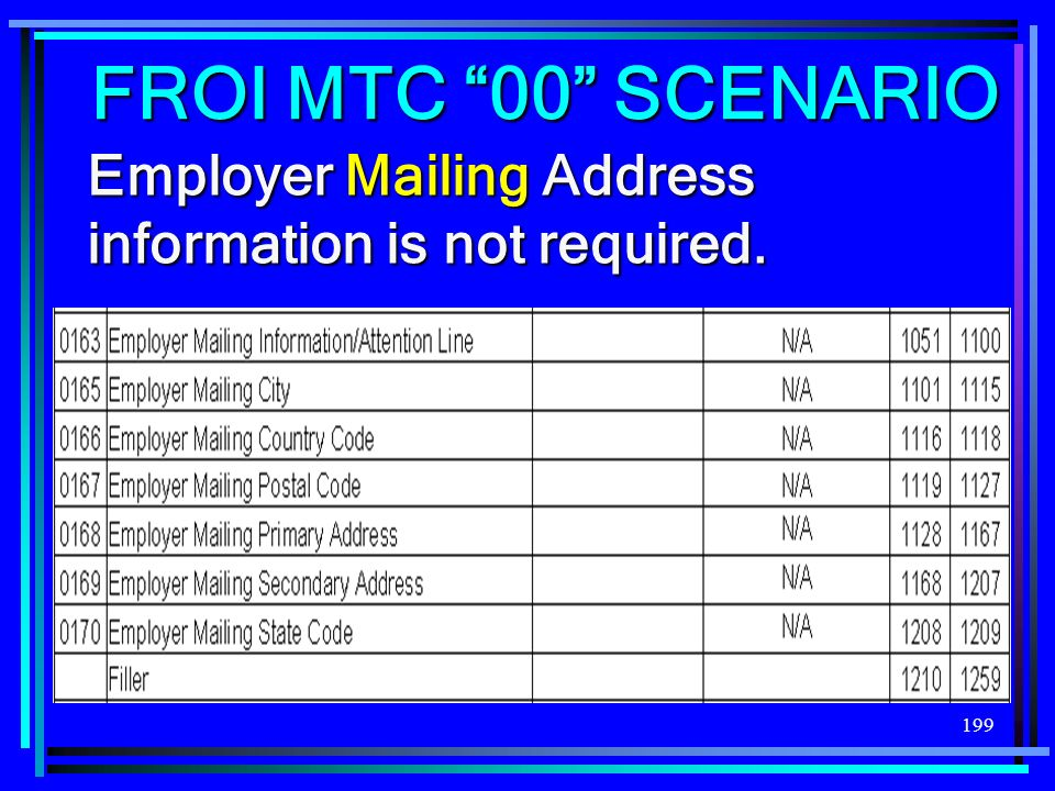 199 Employer Mailing Address information is not required. FROI MTC 00 SCENARIO