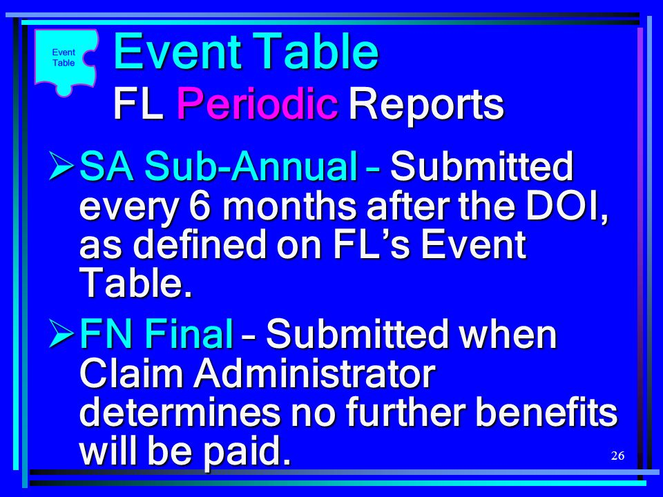 26 Event Table FL Periodic Reports FN Final – Submitted when Claim Administrator determines no further benefits will be paid. FN Final – Submitted whe