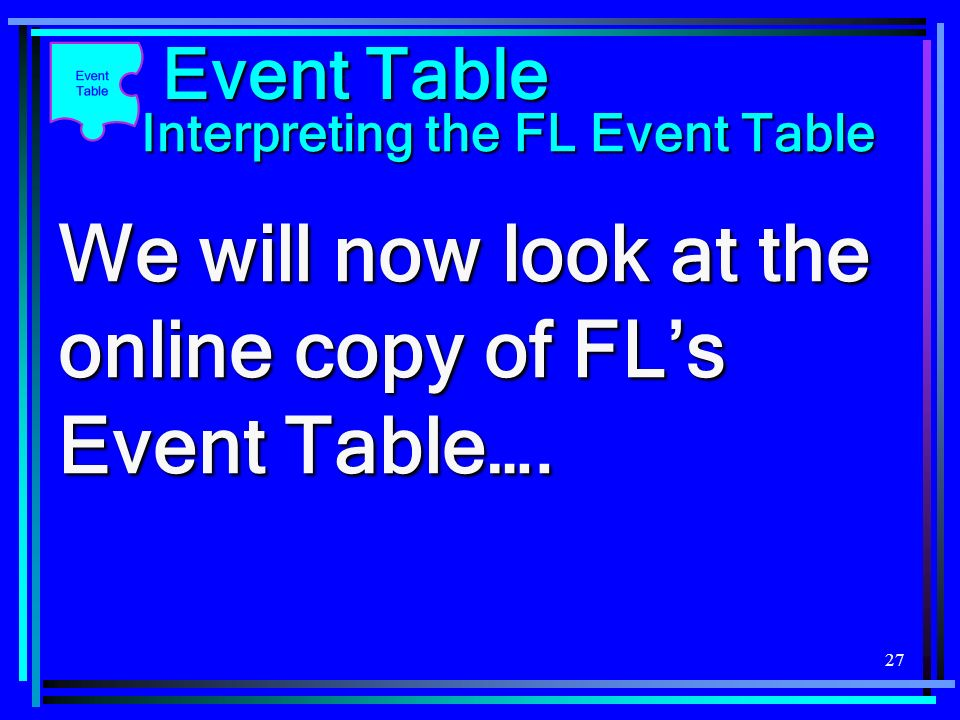 27 We will now look at the online copy of FLs Event Table…. Event Table Interpreting the FL Event Table