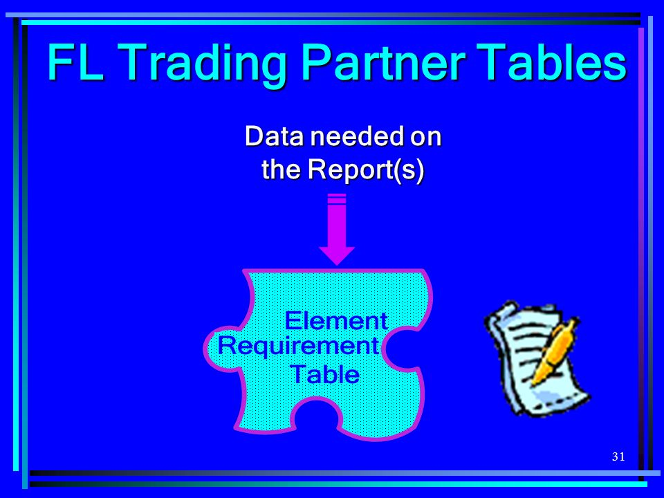 31 FL Trading Partner Tables Data needed on the Report(s)